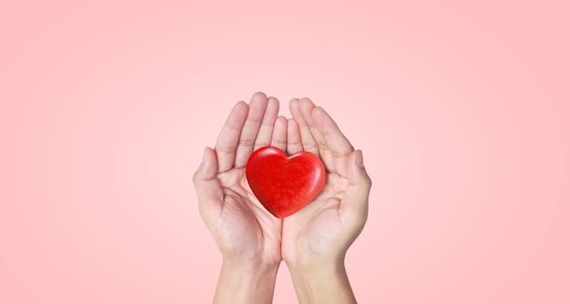 Руки держат красное сердце. здоровье сердца. и концепции пожертвований