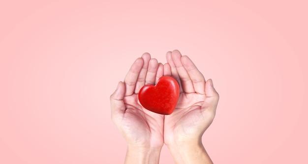 붉은 마음을 잡고 손입니다. 심장 건강. 및 기부 개념