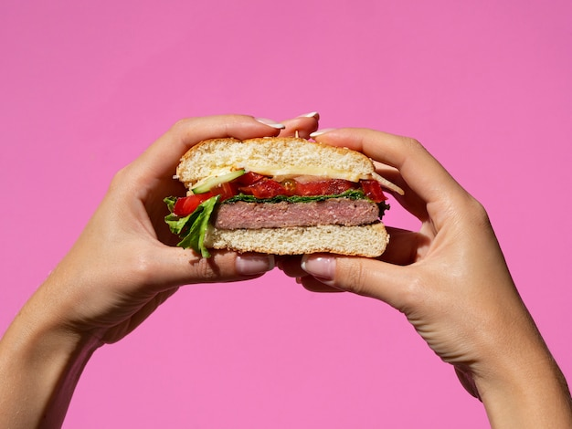Hands holding american tasty burger