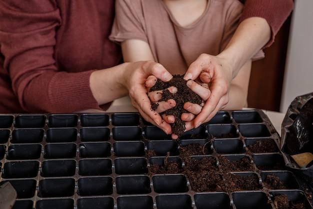 Руки, держа свежую самодельную почву компоста. ручная подсыпка почвы в домашнем саду.