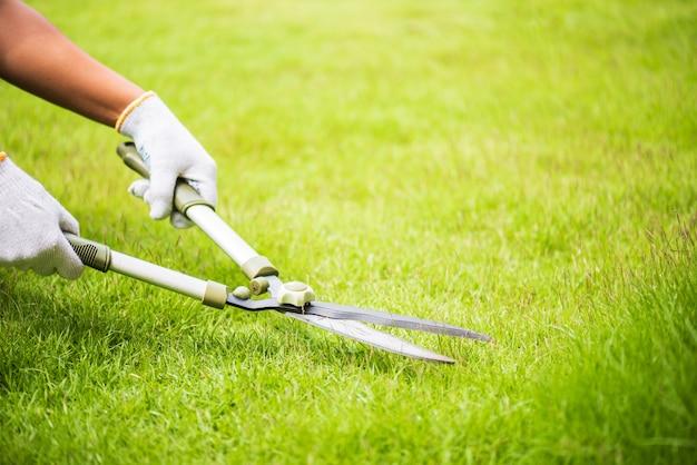 Hands holding the gardening scissors on green grass. gardening concept.