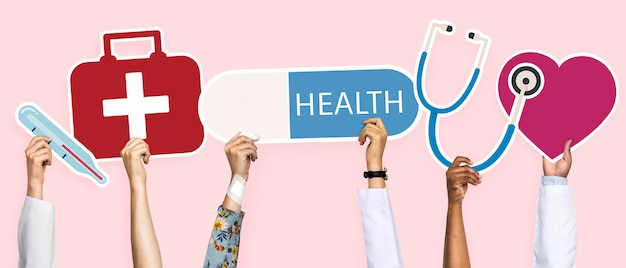 Hands holding healthcare icons clipart