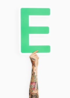 Hands holding the letter e