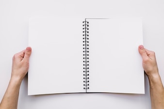 Hands holding open notebook