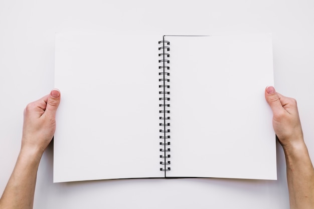 Hands holding open notebook