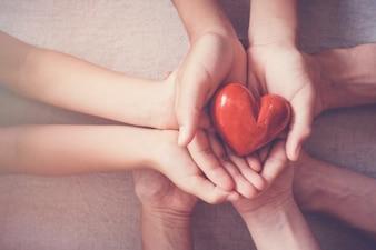 両手赤いハート、健康保険、寄付の概念
