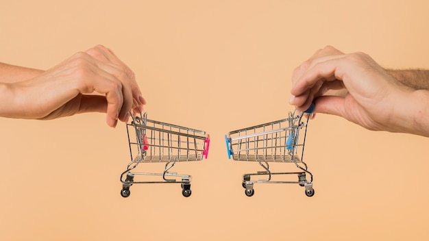 Hands holding small shopping carts