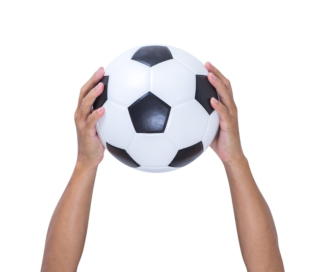 Hands holding soccer ball isolated on white background, clipping path