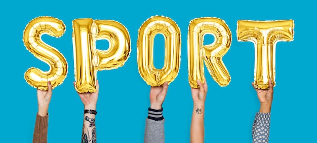 Hands holding sport word in balloon letters