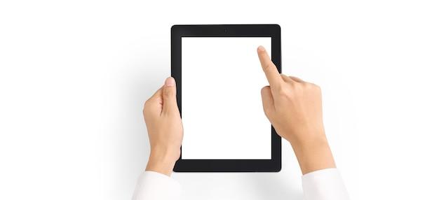 격리 된 스크린 태블릿 터치 컴퓨터 가제트를 들고 손