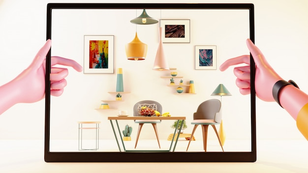 室内装飾をシミュレートするために使用されるarアプリケーションでタブレットを保持する手