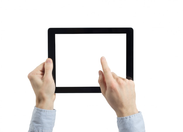 Hands holding a tablet with blank screen