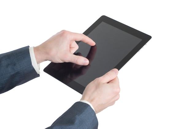 태블릿 컴퓨터를 들고 손