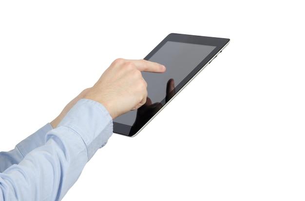 태블릿 컴퓨터를 들고 있는 손