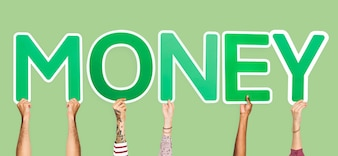 Hands holding up green letters forming the word money