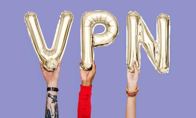 両手バルーン文字でvpnの単語