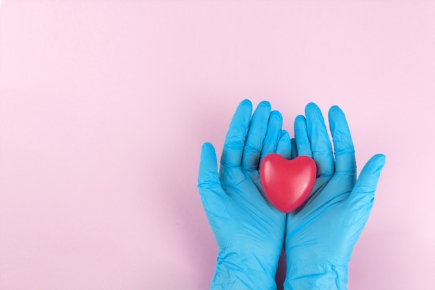 心臓の形を保持している青い内側の手袋の手、医者の安全な手に小さな心臓。