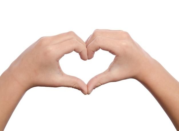 심장의 형태로 손