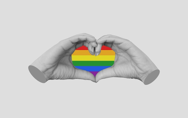 Hands making heart symbol lgbt gay pride concepts