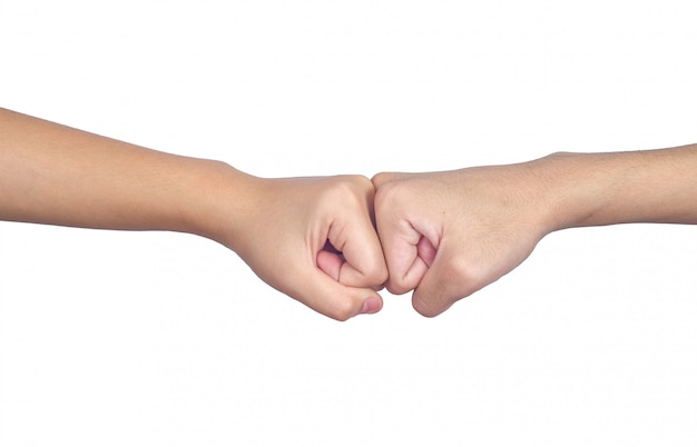 Hands of man people fist bump teamwork and partnership business