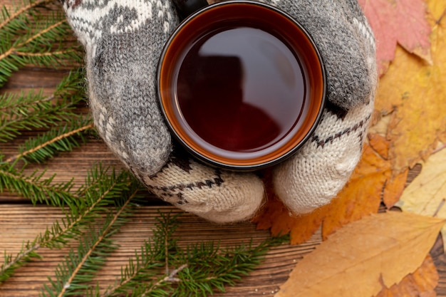 Hands in mittens holding cup of tea close up on the brown brushed wooden and fur pine branches background