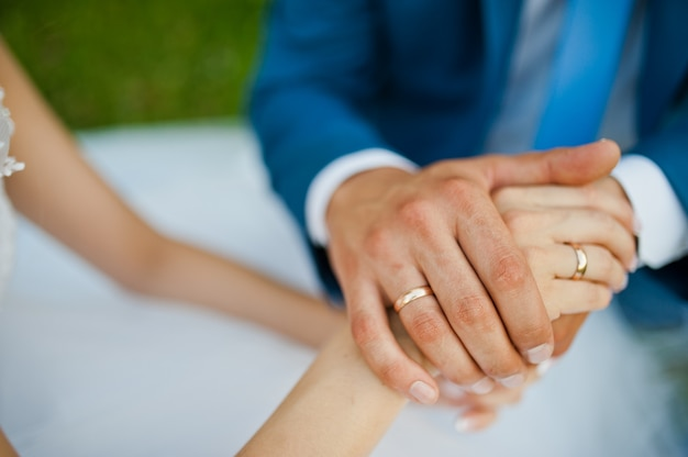 Hands of newlywed