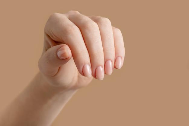 베이지 색에 여성 손톱을 가진 아름다운 잘 손질 된 여자의 손