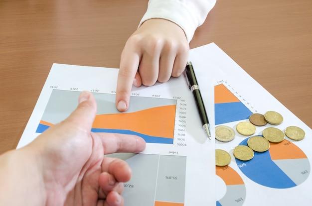 Руки деловой женщины на фоне бизнес-диаграмм концепция анализа риска