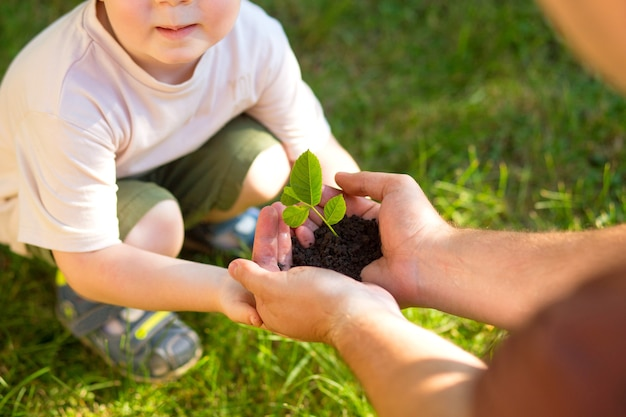 한 남자의 손에서 식물을 빼앗는 아이의 손. 개념 에코 지구의 날