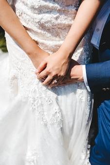Руки жениха и невесты с обручальными кольцами