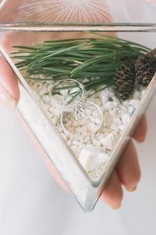 松の木で飾られた白い砂のガラスの三角形のボックスで結婚指輪を保持している花嫁の手