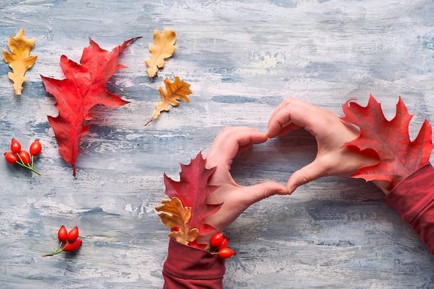 Руки хипстера с осенними листьями в рукавах показывают знак сердца. красные и желтые украшения natural fall на сером дереве.