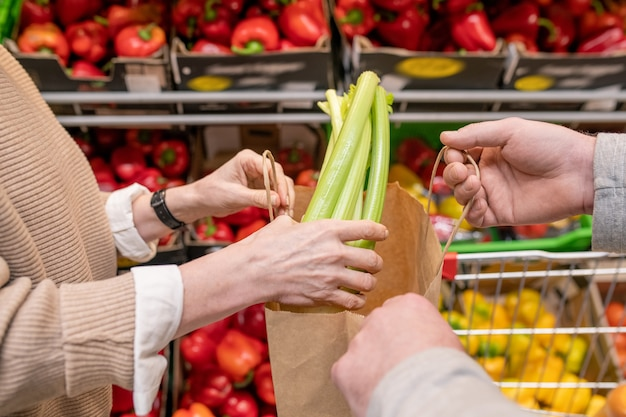 Руки зрелой женщины-потребителя кладут свежий сельдерей в бумажный пакет, который держит ее муж, пока обе стоят у овощной витрины