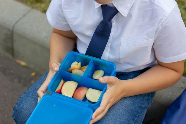 リンゴと青いランチボックスを保持している青いネクタイと白いシャツの少年の手。