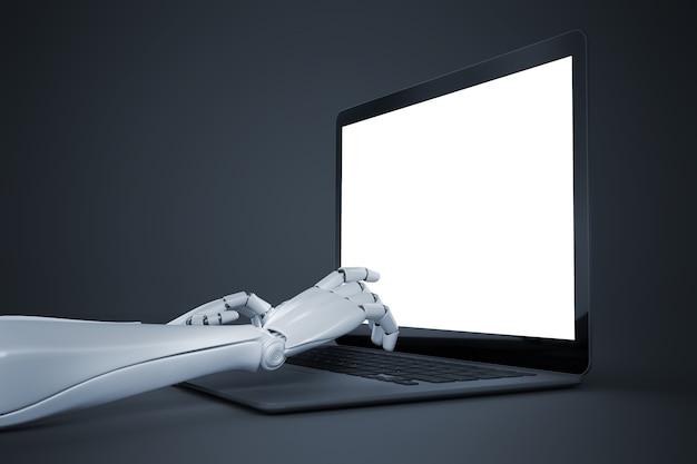 空の画面の3dイラストの前でラップトップのキーボードで入力するロボットの手