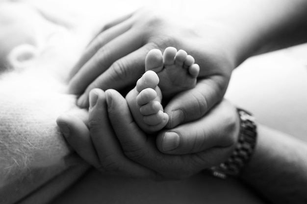Hands of parents. the legs, feet of the newborn in the hands of mom and dad. high quality photo