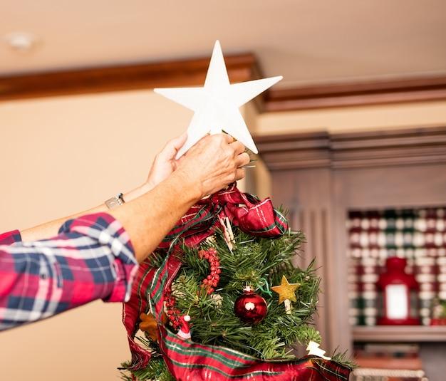 Руки размещения звезду на дереве