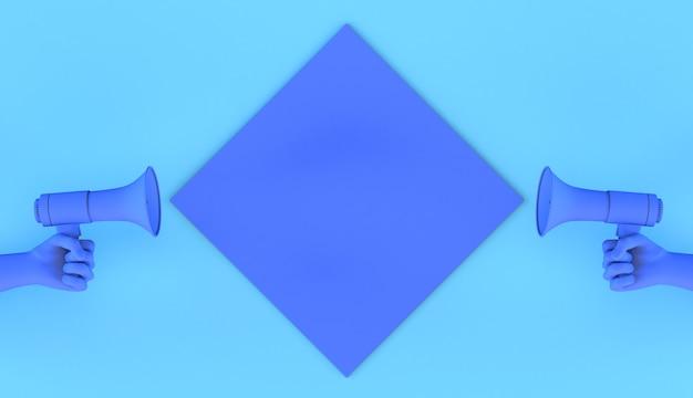 Руки, указывающие на квадратную рамку указательным пальцем, чтобы объявить что-то 3d-иллюстрация