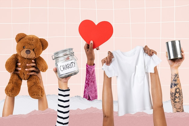 Hands presenting charity for essentials donation campaign remix