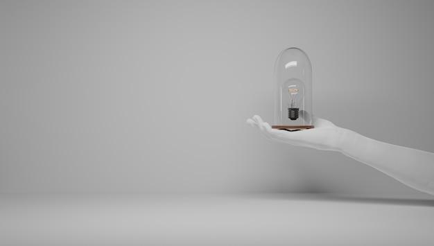 アイデアを守る手。アイデアがあり、それを守りたい。アイデアの特許を取得します。ユーレカ、私には考えがあります。アイデアに関連する電球のシンボル。