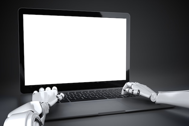 Hands of the robot typing on the keyboard of the laptop in front of an empty screen 3d illustration