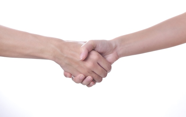 Hands shake isolated on white background