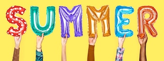 Hands showing summer balloons word