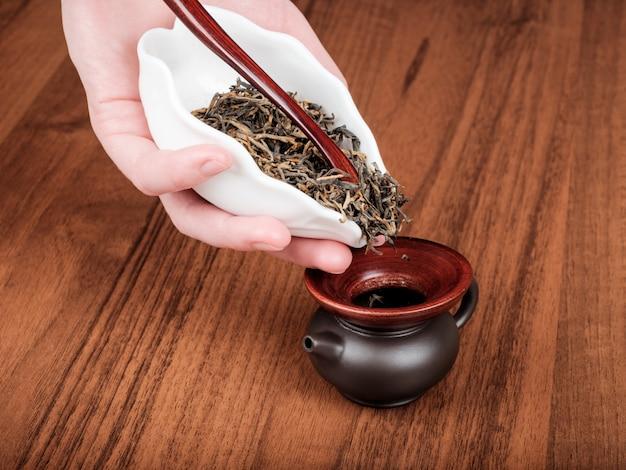 ティーポットにお茶をこぼす手