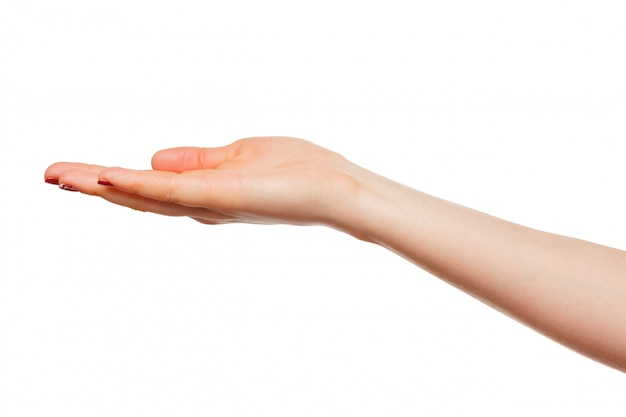 Hands take gesture of open palm