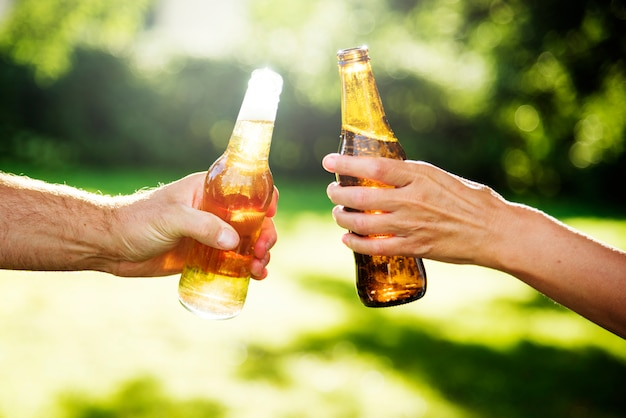 Hands toasting bottles of beer in a park