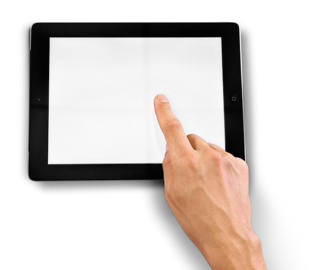 空白の画面でipadに触れる手