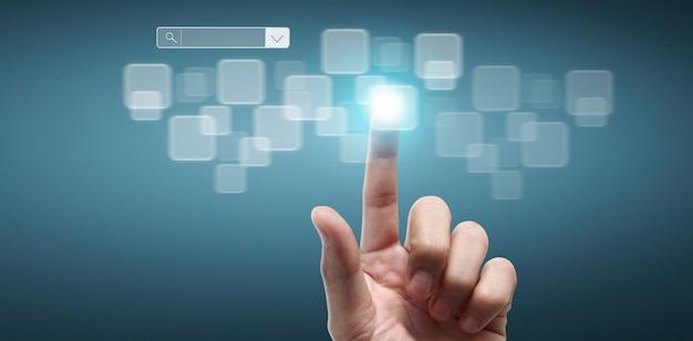 Руки касаются кнопки экранного интерфейса глобальное соединение клиентские сети обмен данными