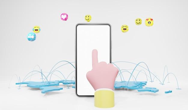 感情のアイコンでスマートフォンに触れる手。メディアマーケティング、ソーシャルメディアの概念、3dイラスト