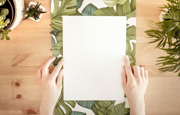 Hands touching a white paper with space for text on a wooden surface with green plants